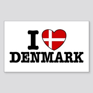 I Love Denmark Rectangle Sticker