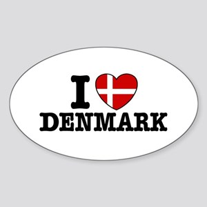 I Love Denmark Oval Sticker