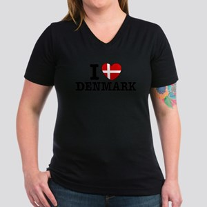 I Love Denmark Women's V-Neck Dark T-Shirt
