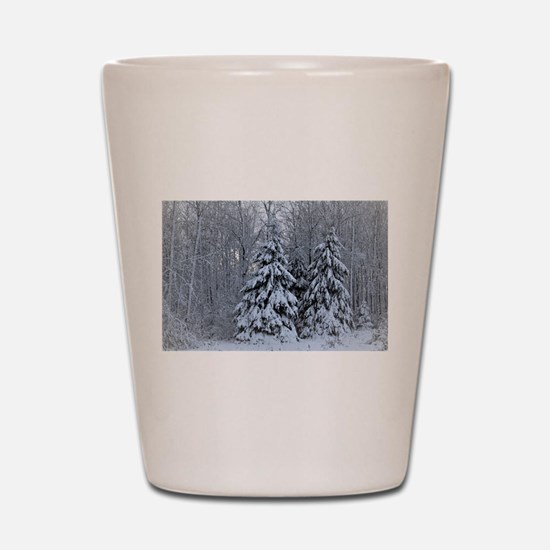 Majestic White Pines in Winter Shot Glass