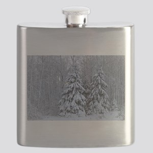Majestic White Pines in Winter Flask