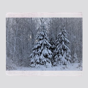 Majestic White Pines in Winter Throw Blanket