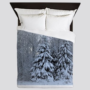 Majestic White Pines in Winter Queen Duvet