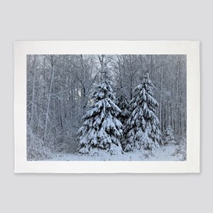 Majestic White Pines in Winter 5'x7'Area Rug