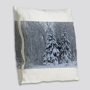 Majestic White Pines in Winter Burlap Throw Pillow