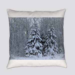 Majestic White Pines in Winter Everyday Pillow