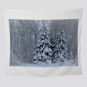 Majestic White Pines in Winter Wall Tapestry