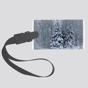 Majestic White Pines in Winter Large Luggage Tag