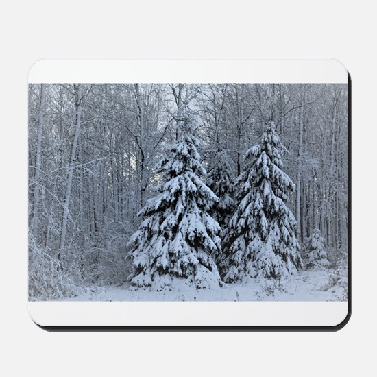 Majestic White Pines in Winter Mousepad