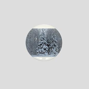 Majestic White Pines in Winter Mini Button