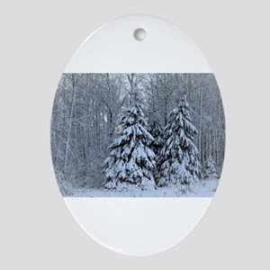 Majestic White Pines in Winter Oval Ornament