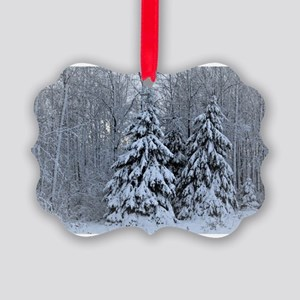Majestic White Pines in Winter Picture Ornament