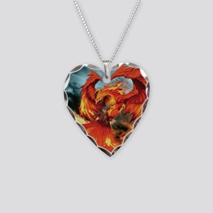 Phoenix Bird Necklace Heart Charm