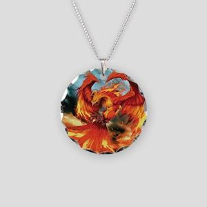 Phoenix Bird Necklace Circle Charm