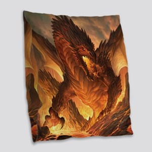 Angry Dragon Burlap Throw Pillow