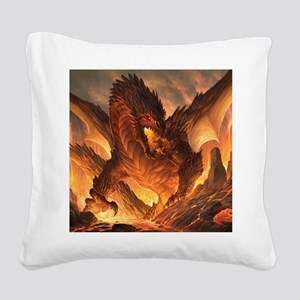 Angry Dragon Square Canvas Pillow