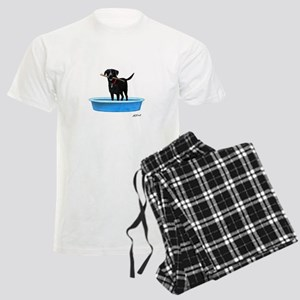 Black Labrador Retriever in kiddie pool Pajamas