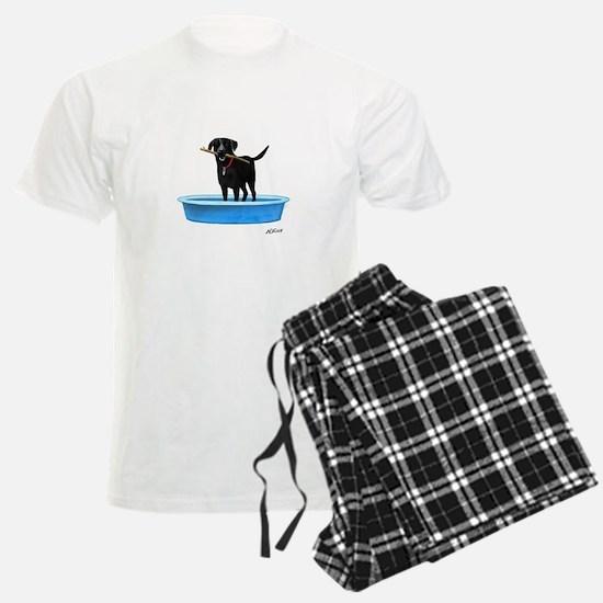 Black Labrador Retriever in kiddie pool Pajamas