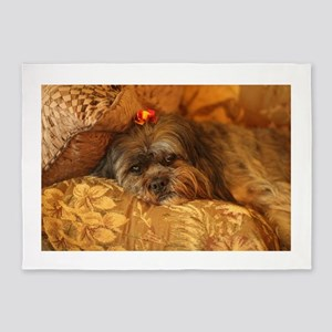 Kona Lhasa type dog relaxing on flo 5'x7'Area Rug