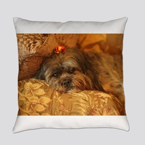 Kona Lhasa type dog relaxing on fl Everyday Pillow