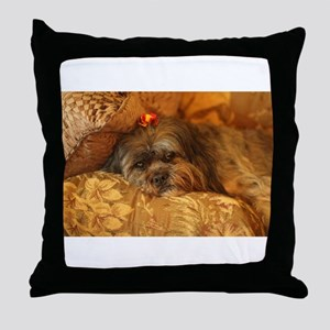 Kona Lhasa type dog relaxing on flora Throw Pillow