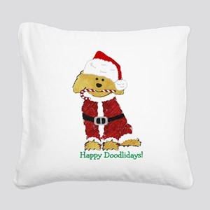 Goldendoodle Santa Claus Square Canvas Pillow