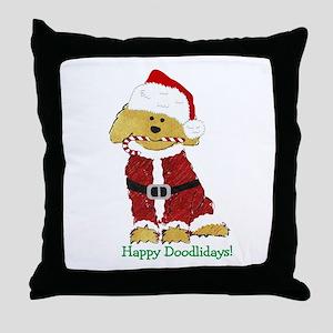 Goldendoodle Santa Claus Throw Pillow