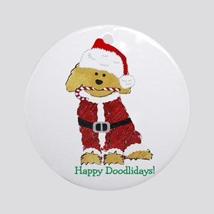 Goldendoodle Santa Claus Round Ornament