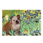 Irises / 2 English Bulldogs Postcards (Package of