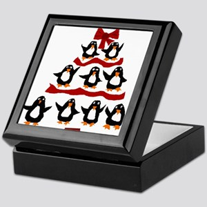 Funny Penguin Christmas Tree Keepsake Box