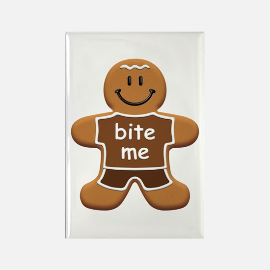 'Bite Me' Gingerbread Man Rectangle Magnet