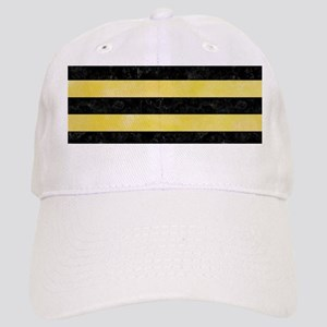 STRIPES2BLACK MARBLE & YELLOW WATERCOLOR Cap