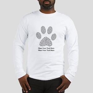 Dog Paw Print Personalized Long Sleeve T-Shirt