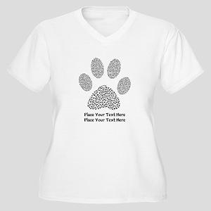 Dog Paw Print Per Women's Plus Size V-Neck T-Shirt