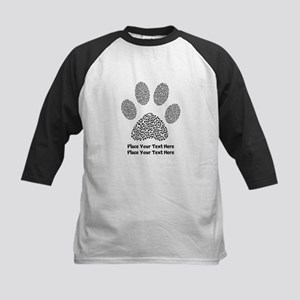 Dog Paw Print Personalized Kids Baseball Tee