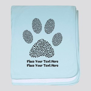 Dog Paw Print Personalized baby blanket