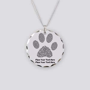 Dog Paw Print Personalized Necklace Circle Charm