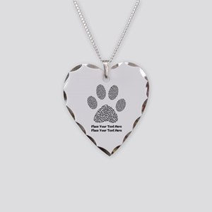Dog Paw Print Personalized Necklace Heart Charm