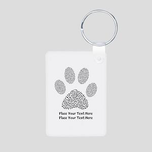 Dog Paw Print Personalized Aluminum Photo Keychain