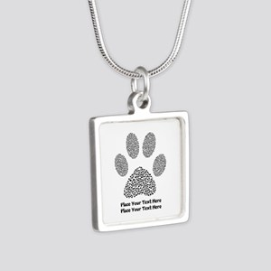 Dog Paw Print Personalized Silver Square Necklace