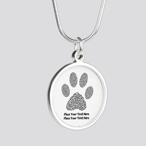 Dog Paw Print Personalized Silver Round Necklace