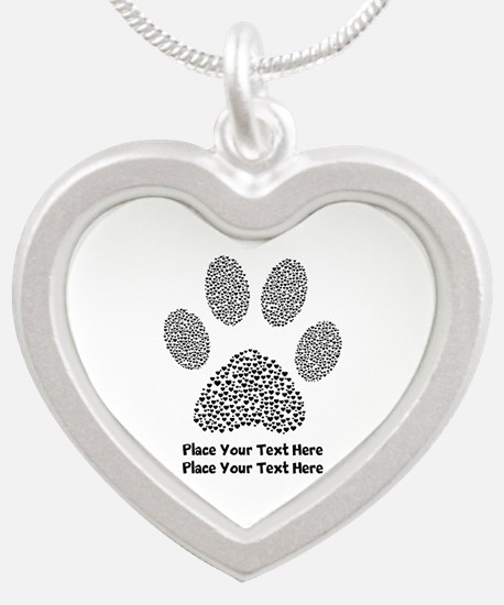 Dog Paw Print Personalized Silver Heart Necklace