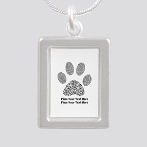 Dog Paw Print Personaliz Silver Portrait Necklace