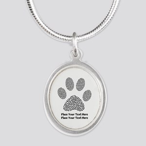 Dog Paw Print Personalized Silver Oval Necklace