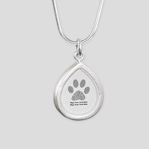 Dog Paw Print Personaliz Silver Teardrop Necklace