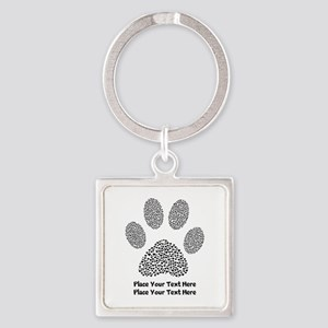 Dog Paw Print Personalized Square Keychain