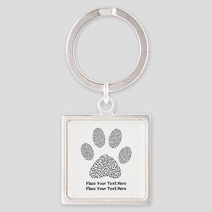 Dog Paw Print Personalized Square Keychain