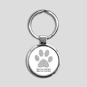 Dog Paw Print Personalized Round Keychain
