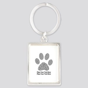 Dog Paw Print Personalized Portrait Keychain