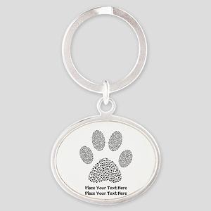 Dog Paw Print Personalized Oval Keychain